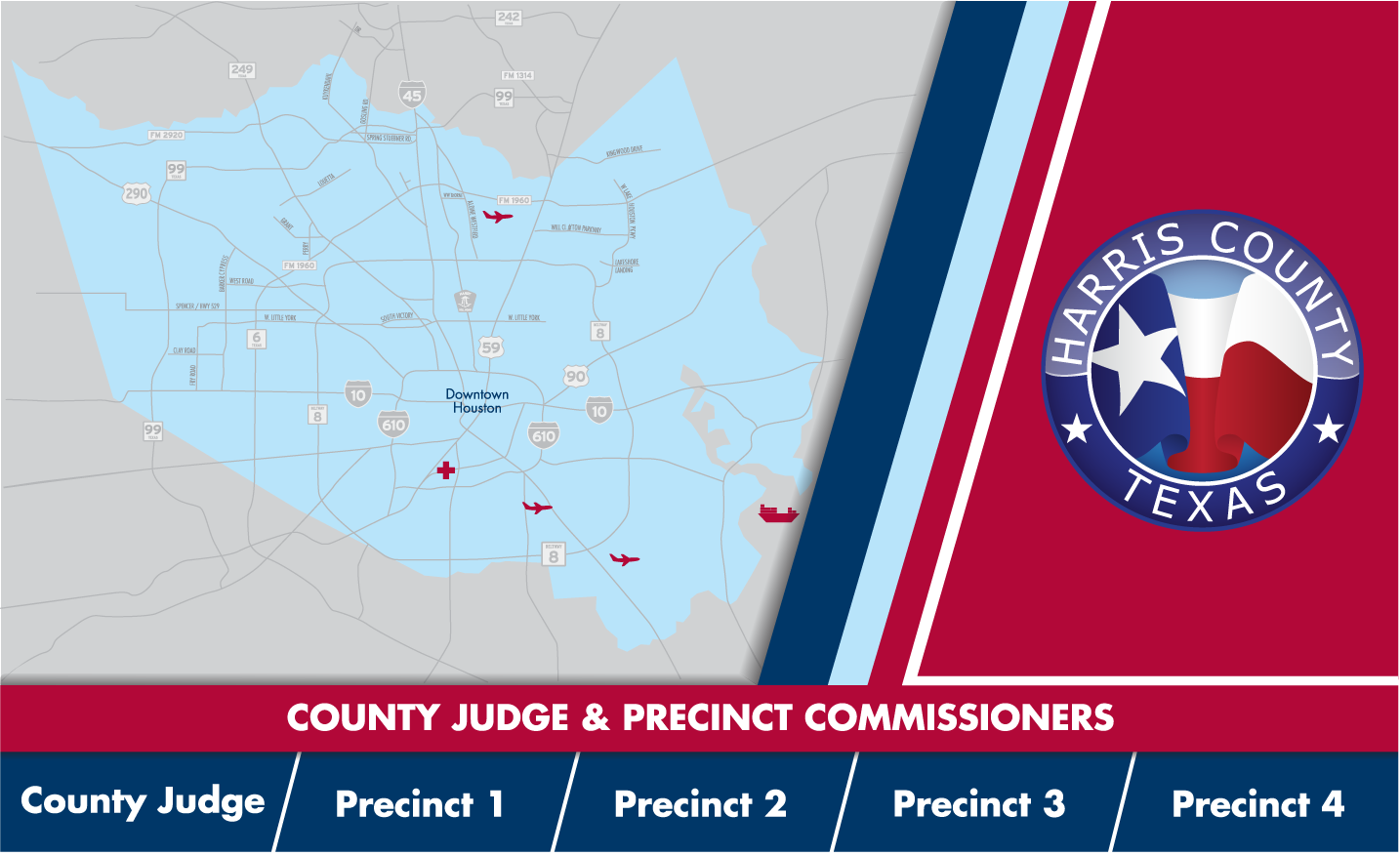 Image map showing the area outline and logo of Harris County